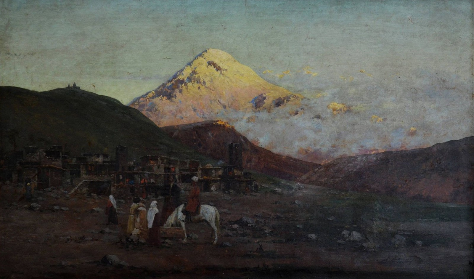 Отреставрирована картина Ричарда Зоммера «Деревня в горах - Казбеги».